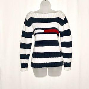 Tommy Hilfiger 2001 logo striped knit sweater
